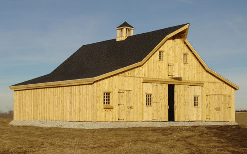 Sand creek post beam offers traditional barns without for Post and beam barn plans and pricing