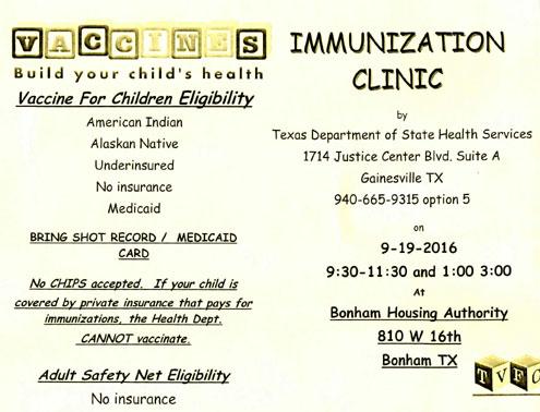 Immunization clinic in Bonham Sept. 19 - North Texas e-News