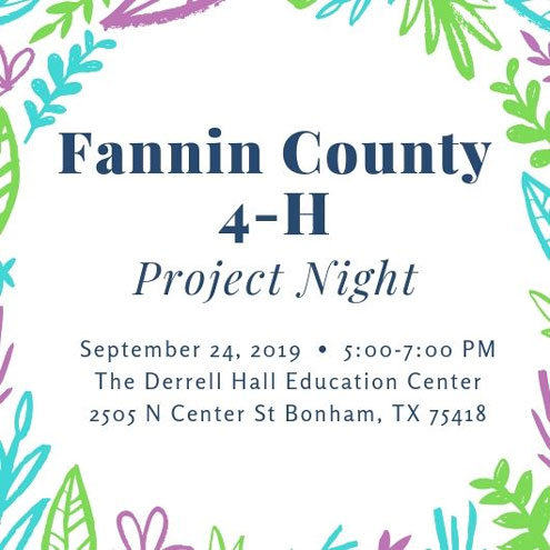 Fannin County 4-H Project Night Sept  24 - North Texas e-News