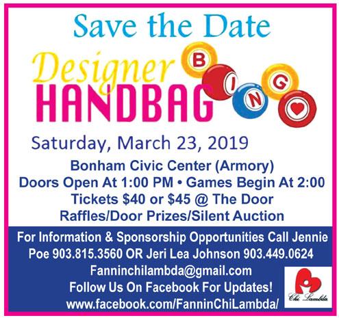 7e8b09857 Designer Handbag Bingo March 23 at Bonham Civic Center - North Texas ...