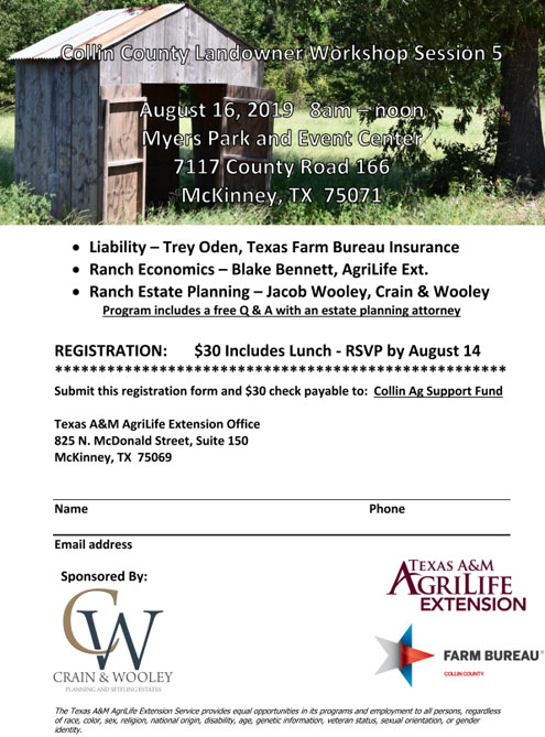 Final Landowner 101 workshop for 2019 on August 16 will focus on
