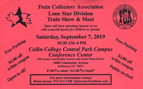 Train Collectors Association Lone Star Division Train Show