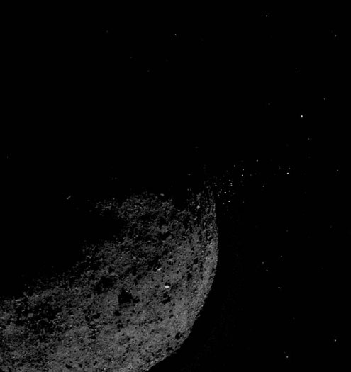 de6c9005df49 This view of asteroid Bennu ejecting particles from its surface on January  19 was created by combining two images taken on board NASA's OSIRIS-REx ...
