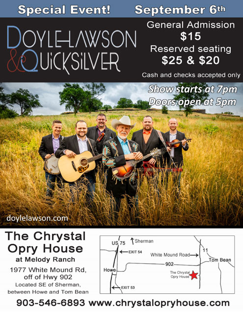 Doyle Lawson at Chrystal Opry House Sept  6 - North Texas e-News