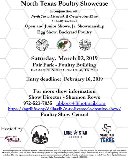 North Texas Poultry Showcase March 2 - North Texas e-News