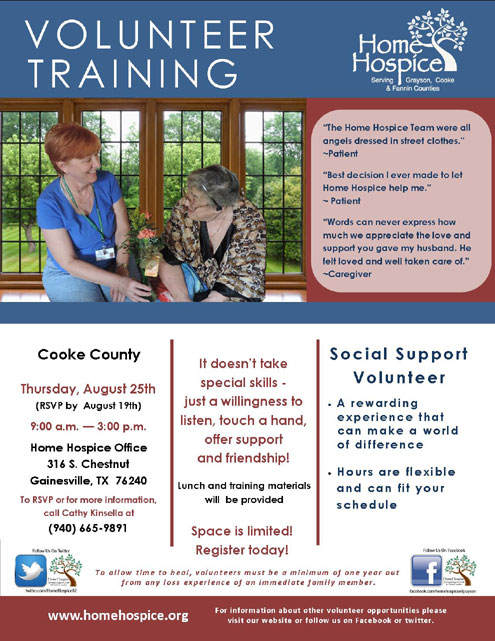 Home Hospice offers Social Support Volunteer Training Aug