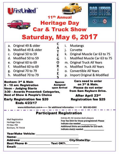 Heritage Day Car Show Slated For May Printed From North Texas ENews - Car show award categories