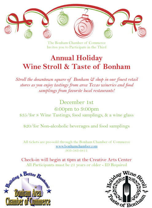 Annual Holiday Wine Stroll Taste Of Bonham Dec 1 North Texas E News