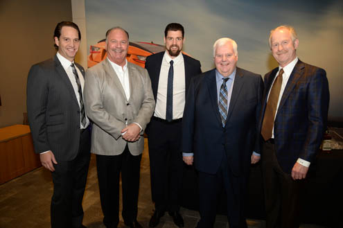 Dallas Stars Foundation Executive Director Grady Raskin, Park Place Lexus  President Jordan Case, Dallas Stars Captain Jamie Benn, Dallas Stars Head  Coach ...