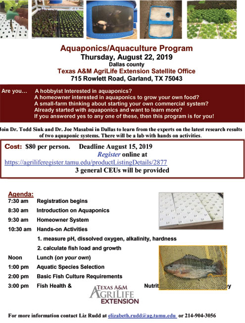 Aquaponics/Aquaculture program in Garland Aug  22 - North